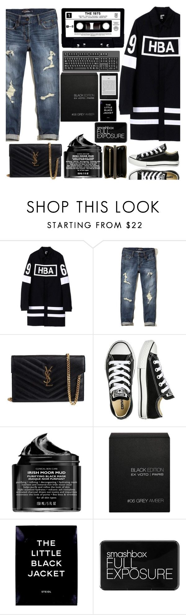 """""""I just realised that that's a men's coat but anything goes"""" by floralandmay ❤ liked on Polyvore featuring Hood by Air, Hollister Co., Yves Saint Laurent, Converse, Peter Thomas Roth, Ex Voto Paris, Smashbox and Comme des Garçons"""