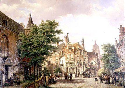 Chiffres à un carrefour Amsterdam de Willem Koekkoek (1839-1895, Netherlands)