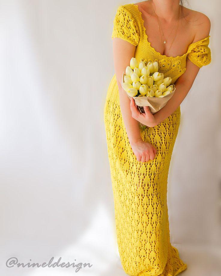 KNIT Dress Wedding dress.Maxi.Embroidered dress.Maxi dress.Unique dress.Crochet boho dress.Lace maxi dress.Short sleeve dress.Bohemian dress by NinElDesign on Etsy