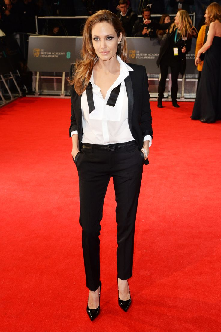 Many ways to wear a white shirt. Angelina Joile at BAFTA  in Saint Laurent.