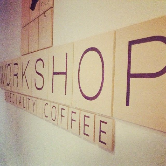 Signage installation at Workshop Cafe. Printed on Birch Wood and mounted onto 9mm plywood. #PrintOnWood #Workshop #Coffee #Birch #Wood #Signage #2.5metres