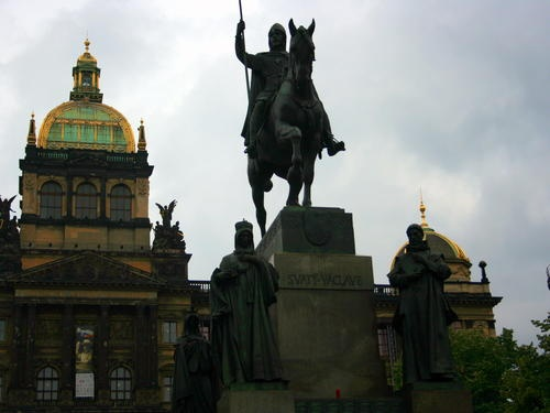 Wenceslas Square with the National Museum and Wenceslas Monument.  ... something interesting to note -  Wenceslas Square has the shape of a very long (750 m, total area 45,000 m²) rectangle, in a northwest–southeast direction, dominated by the grand neoclassical Czech National Museum.