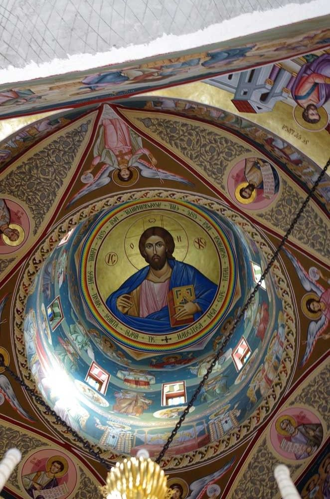 Christus Pantocrator from Sihastria Putna monastery church . Look up into the dome and he is looking at you - the same as in every orthodox church.