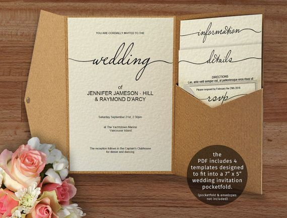 Printable Wedding Invitation Suite Fits 5 X 7 Pocketfold Cover Not Included