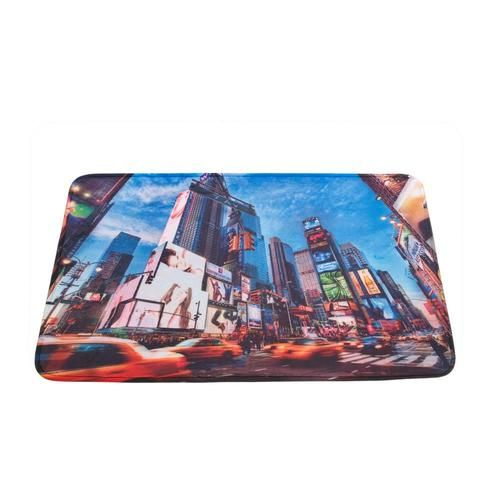 The electric ambiance of New York Citys Times Square can be yours everyday! This polyester mat features a digitally printed scene of tall buildings, bright lights, and racing taxi cabs that will make you feel like youre in the center of the city.  Machine wash cold; do not bleach; do not iron; do not tumble dry; do not dry clean.