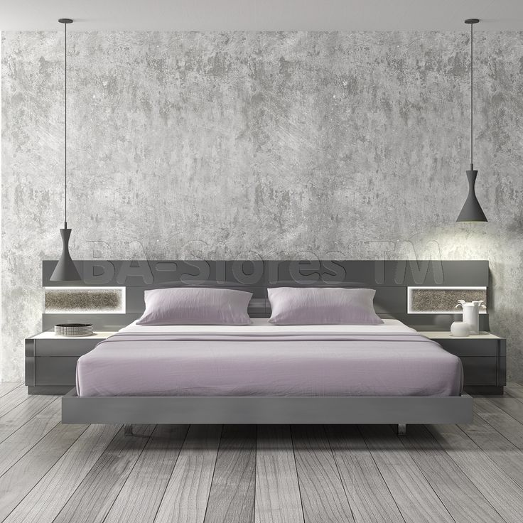 Braga Grey Lacquer Wood Contemporary Platform Bed | Beds SKU178671-BED/9