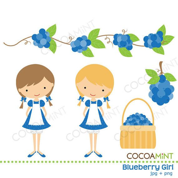Blueberry Graphics | Blueberry Girl Clip Art by Cocoa Mint | Catch My Party