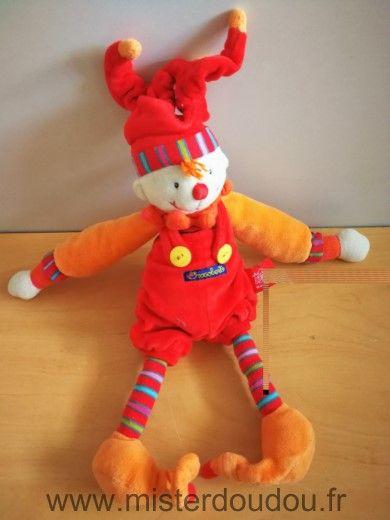 Doudou Lutin Moulin roty Clown dragobert rouge orange