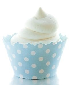 Sky Blue w/ White Polka Dot Cupcake Wrappers - BOY BABY SHOWER MUST HAVE!