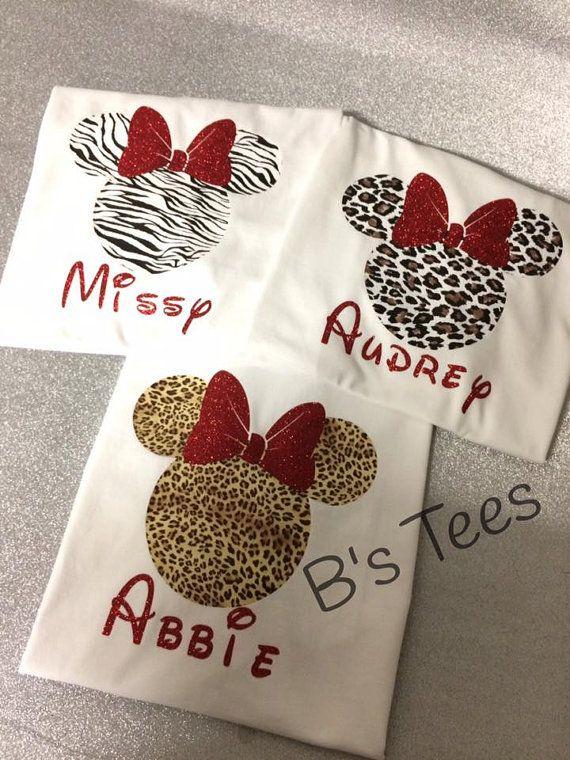Animal Print Minnie T-shirt Printed Vinyl by BeesTeesandThings