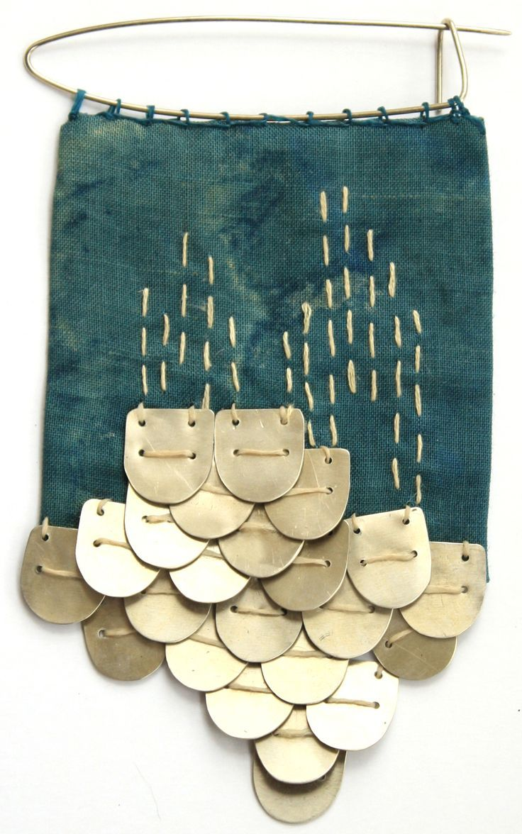 "Ernández Amparo, ""Amparo Joyería Textil"" (Textile Jewelry). This site shows prototypes and final designs. ""Fishing "": The fabric is linen dyed with indigo and onion peels , the metal and alpaca yarn. Visit site for more designs: http://amparojoyeriatextil.blogspot.com/p/coleccion-wichi_28.html"