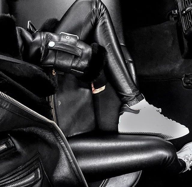 All black leather leggings and jacket