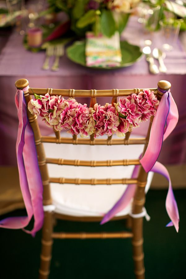 Idea: Decorate the bride's and groom's chairs with short garlands and matching ribbons. #weddingdecor