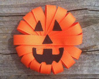Pinza de pelo de la escultura de Jack-o-Lantern cinta, pinza de pelo de calabaza, arco del pelo de Halloween, naranja y negro arco del pelo, arcos de niño, libres de la nave Promo