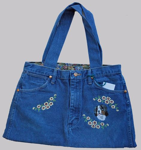 """Each bag is made from recycled/well loved blue jeans, making each tote a unique piece. Measures approx. 22"""" wide at the bottom and 12"""" wide at the top and 13"""" tall. This tote is the right size for eve"""