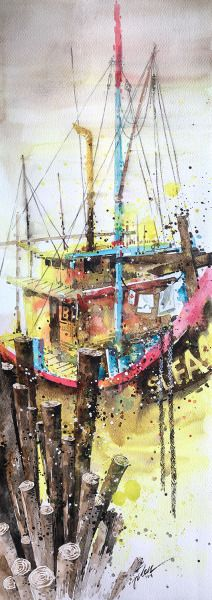 SeKinChan fishing village, Malaysia 05 Watercolour 68 x 24 cm 2016 USD1000 | SGD1,400 Please email Tilen at tilen.t@gmail.com if you're interested :)