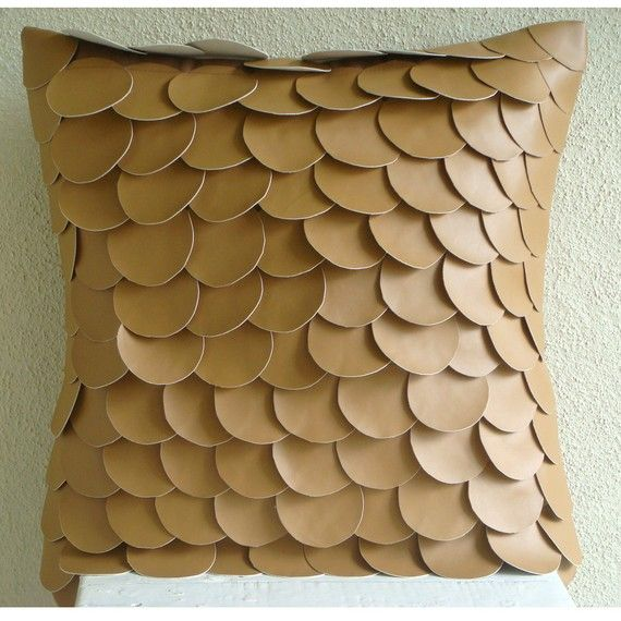 Handmade Brown Pillow Cases 16x16 Faux Leather by TheHomeCentric