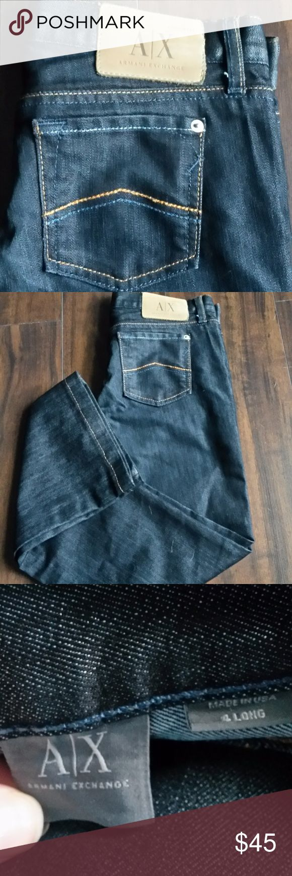 """PRICE ✂ Armani Exchange Jeans-size 4L Like New! Gorgeous boot-cut, dark washed jeans with gold and blue embroidery on the back pockets. Inseam 30"""" EUC Armani Exchange Jeans Boot Cut"""
