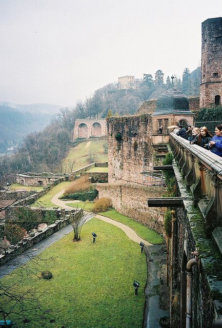 Heidelberg Castle on a foggy day - Germany they sell mulled wine in the winter and it makes for a perfect afternoon