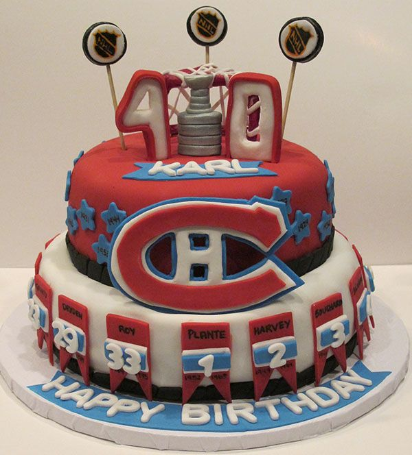 Montreal Canadiens Cake - for the dedicated hockey fan! This cake includes all the retired jerseys and the years that the Canadiens won the Stanley cup. A two layer rich chocolate cake with oreo icing and tons of hockey decorations. This cake was so much fun to make