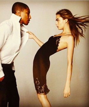 Is this the start of a beautiful friendship? Quite possibly. In British Vogue's September issue, legendary photographer David Bailey captures Pharrell Williams and Cara Delevingne in an intimate embrace and, boy, do they look cute.     In a behind-the-scenes video for the shoot, we can see