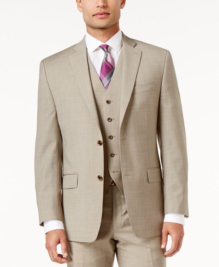 MICHAEL Michael Kors Men's Big & Tall Classic-Fit Tan Pindot Suit - Suits & Suit Separates - Men - Macy's