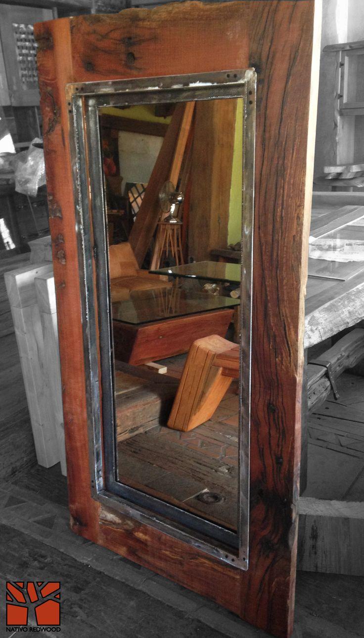 Best 28 espejos maderas steelwood con fierro forjado for Espejo marco cristal