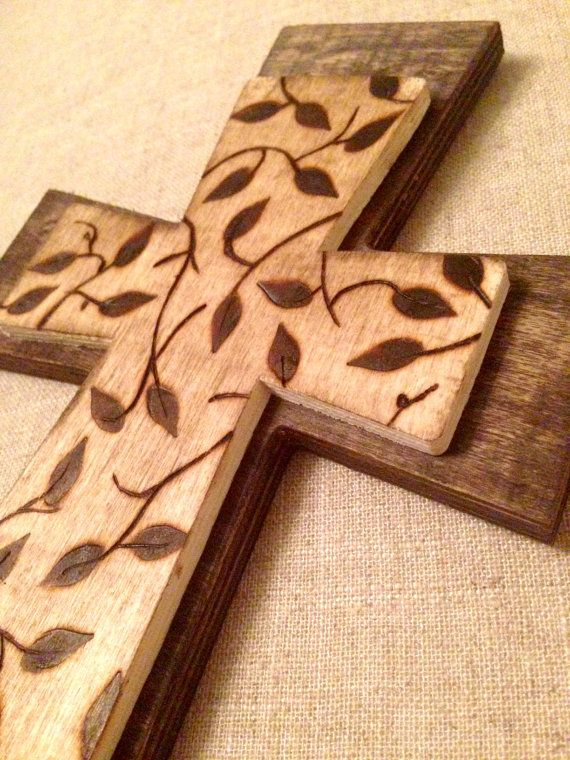 Double Wood Burned Cross - Made and Customized to Order