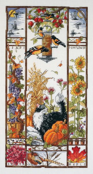 Autumn Birdfeeder Counted Cross Stitch Kit-8 X16 14 Count