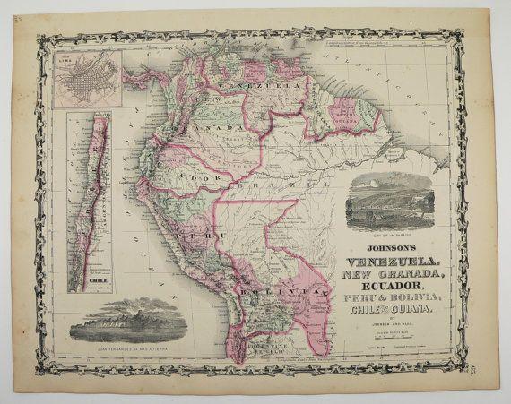 South America Map Venezuela New Granada Map Ecuador Peru Map Bolivia Chile Guiana 1863 Johnson Map, Antique Art Map to Frame, Office Decor