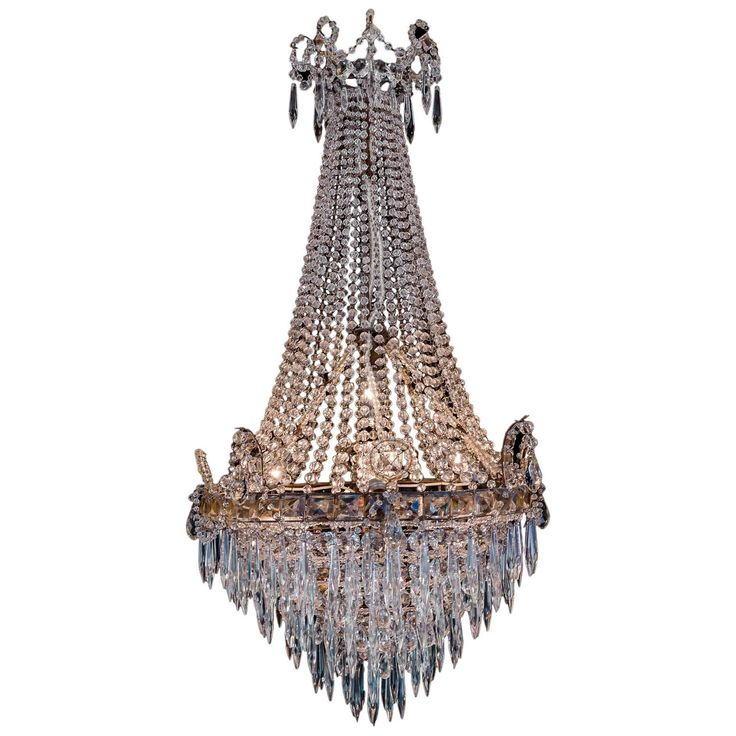 French Early-19th Century Iron & Crystal Basket Small Chandelier circa 1800-1810