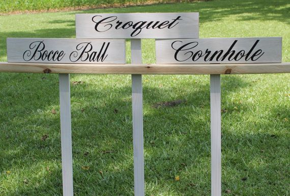 Rustic Wedding Game Signs set of 3 Wood stake included Bocce Cornhole Croquet Country style