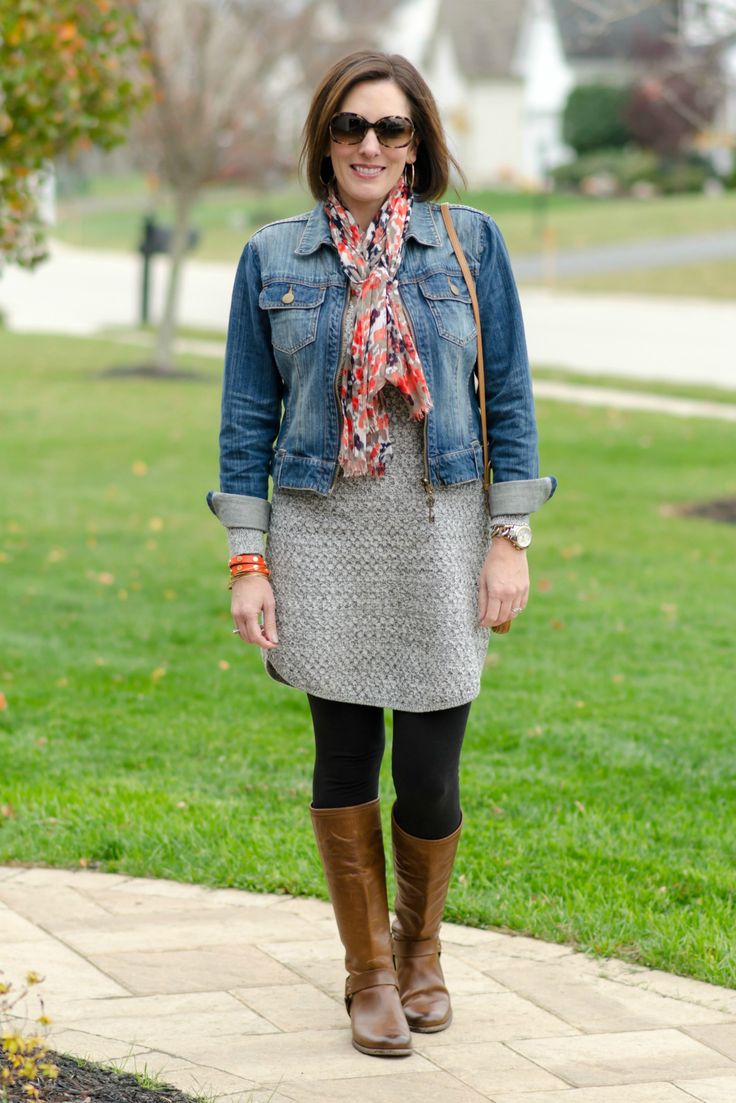 How To Wear A Sweater Dress With A Denim Jacket Scarf