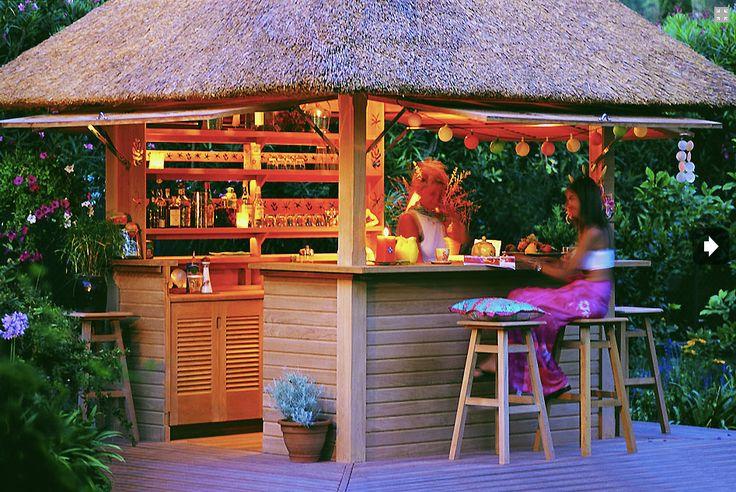 COBERTI Gazebo de madera barra de copas con techo de junco africano #gazebo #madera #copas #junco #africano #coberti #malaga