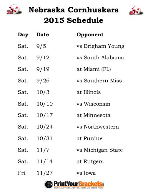 Printable Nebraska Cornhuskers Football Schedule 2015