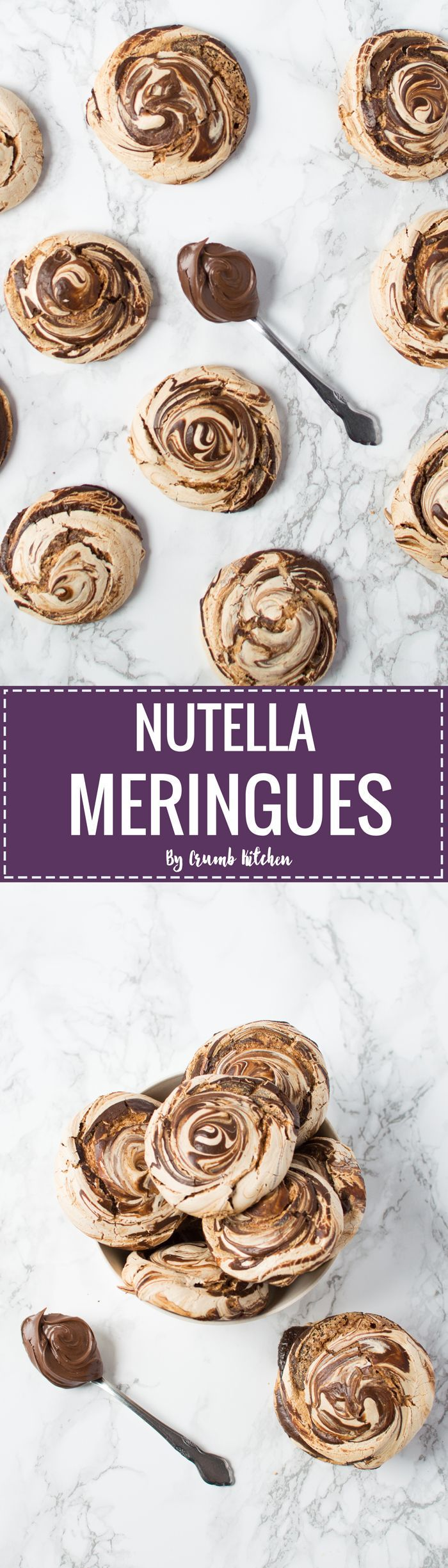 Pillowy clouds of sweet meringue swirled with warm melted Nutella create a beautiful, elegant treat.   http://crumbkitchen.com
