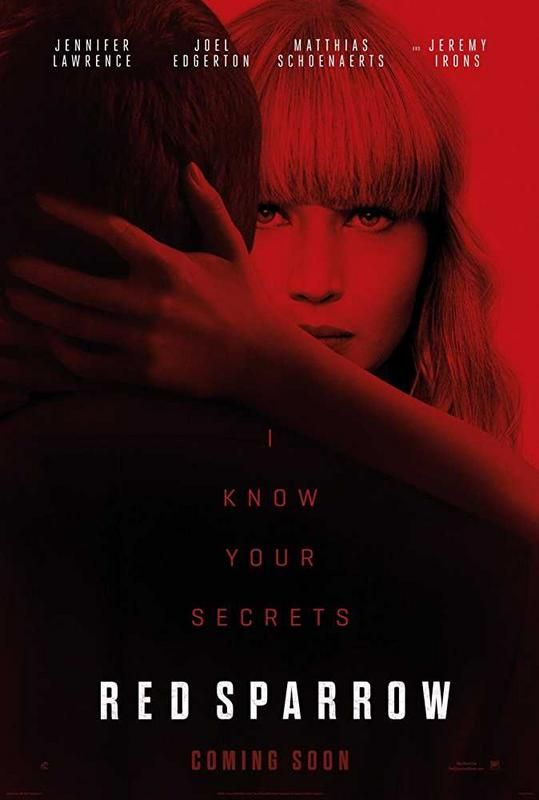 Red Sparrow        Directed by  Francis Lawrence      Produced by        Peter Chernin,Steven Zaillian,Jenno Topping,David Ready          Screenplay by  Justin Haythe      Based on  Red Sparrow by Jason Matthews      Starring        Jennifer Lawrence,Joel Edgerton,Matthias Schoenaerts,Charlotte Rampling,    Mary-Louise Parker,Jeremy Irons          Music by  James Newton Howard      Cinematography  Jo Willems      Edited by  Alan Edward Bell        Production  company    TSG…