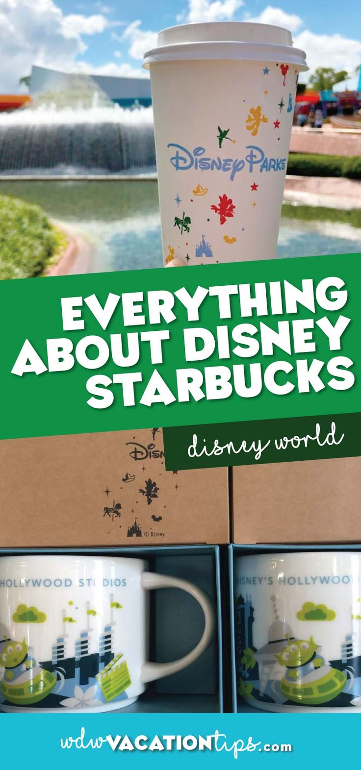 You may not realize that you can find your favorite Starbucks drinks at all four of the parks plus Disney Springs! Starbucks locations aren't actually called Starbucks so it's really easy to walk on by without realizing it.  So here is the scoop on everything you need to know about Starbucks at Disney World.