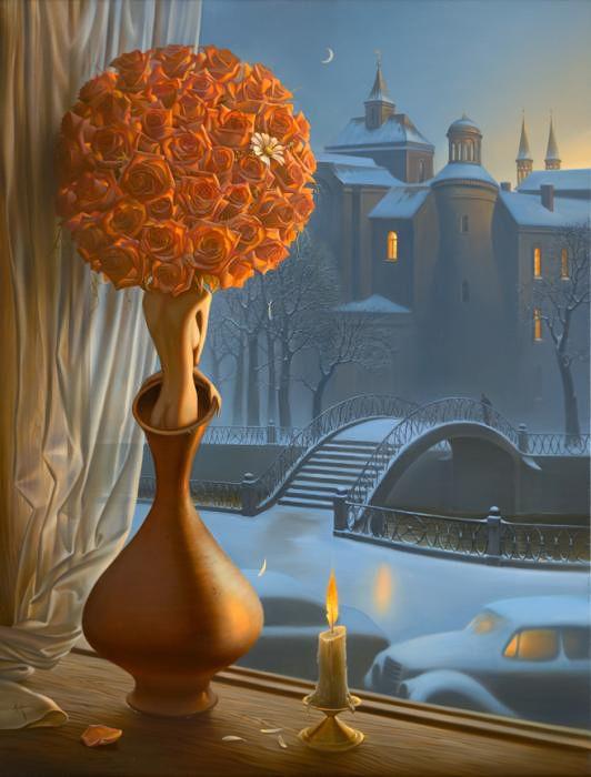 Vladimir Kush.  Absolutely love this! Love the orange and blue tones.