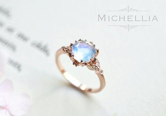 Vintage Moonstone Floral Engagement Ring in 14k or 18K Solid Gold, Art Nouveau Moonstone Laurel Leaf Ring, Blue Moonstone, Rose White Gold