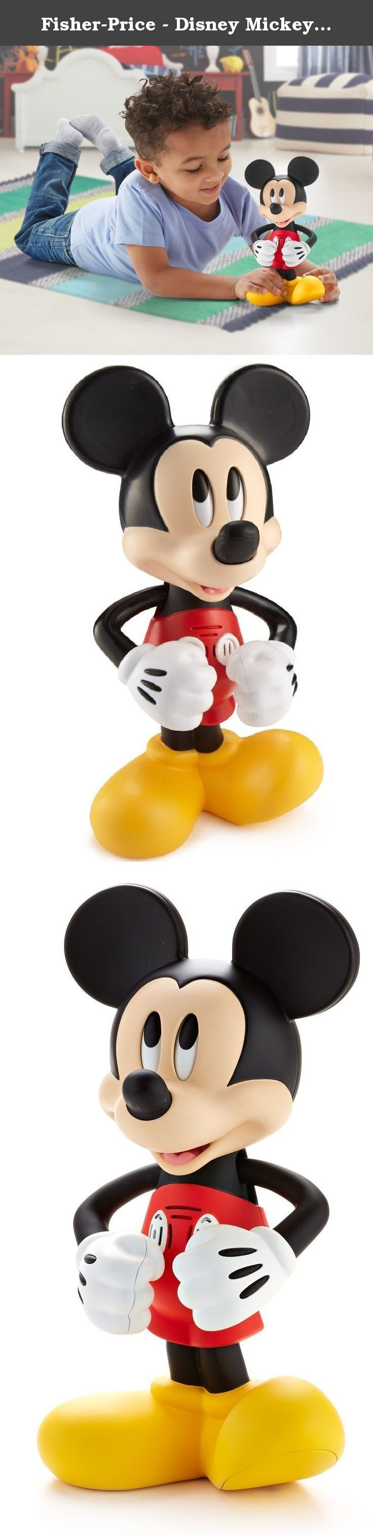 """Fisher-Price - Disney Mickey Mouse Clubhouse - Hot Dog Rockin' Mickey. Everyone loves to do the Hot Dog dance, especially your Disney pal Mickey Mouse! Tilt his ears from side to side and watch as his arms magically sway back and forth like he is doing the Hot Dog dance. As Mickey's head and arms move, his eyes also look from side to side as you hear funny phrases and sounds and he sings the """"Hot Dog"""" song!."""