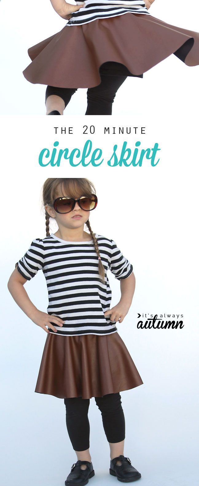 Sew this adorable skirt in 20 minutes or less - Learn how to make a circle skirt for girls by It's Always Autumn