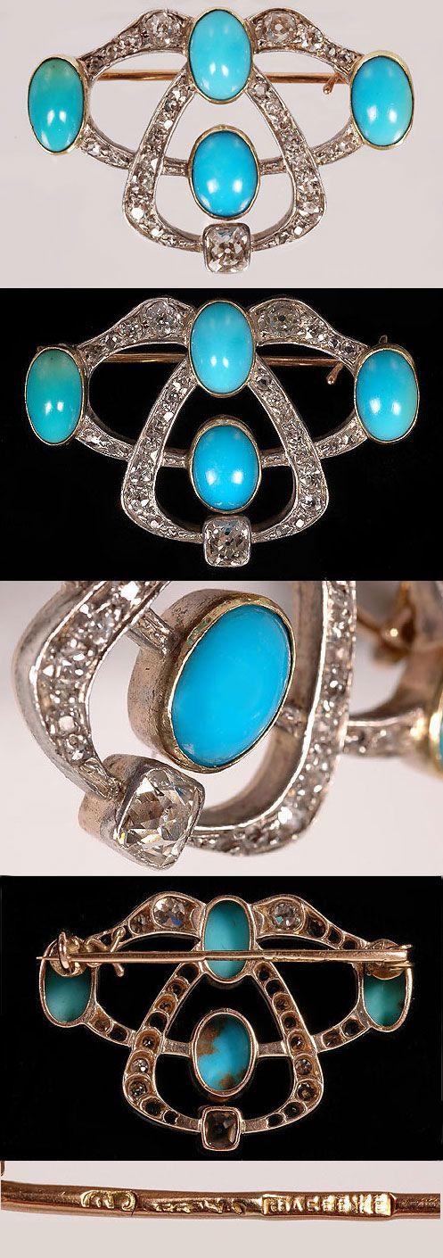 FABERGÉ~ Turquoise and diamond art nouveau brooch.