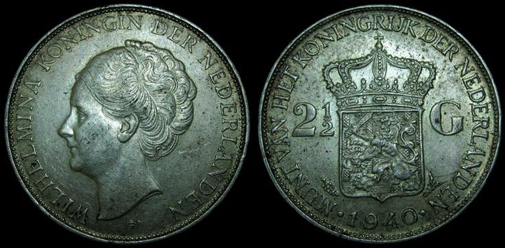 Netherlands 2.5 Gulden Wilhelmina 1940