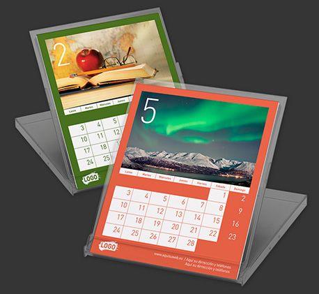 Calendarios de mesa personalizados Colour Line CD 11x13 cm  Características:  - Impreso a todo color  - 14 páginas (14 hojas a 1 cara)  - Papel estucado brillo 200 g.  - Caja transparente con soporte  - Tu logo en todas las páginas  - 1 foto a elegir en cada página  - Idiomas a elegir  - Calendario lunar  - Espacio para la Foto:  Con marco: 10,5 x 6,2 cm  Sin marco: 12,3 x 7,1 cm  $2.30