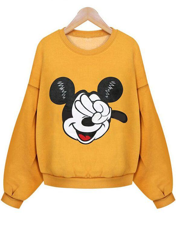 Cute crop sweat shirt in fleece is my new year gift. Yellow Mickey women sweatshirt is ao lovely ,i also get a hooded sweatshirt in grey color at remwe .com ,so cheap with so nice quality !