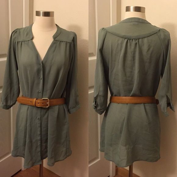 Size S Super Cute Sage Green Smock Top Size S, fits loose. Super cute v neck button up smock top. Just in time for spring, and looks adorable belted with jeans. NOTE: missing buttons from right sleeve and also buttons missing from the two lowest button holes. Is an easy (and way cuter) fix just by changing out buttons for gold buttons! Belt not included. Priced accordingly. Offers Welcome! Cotton On Tops