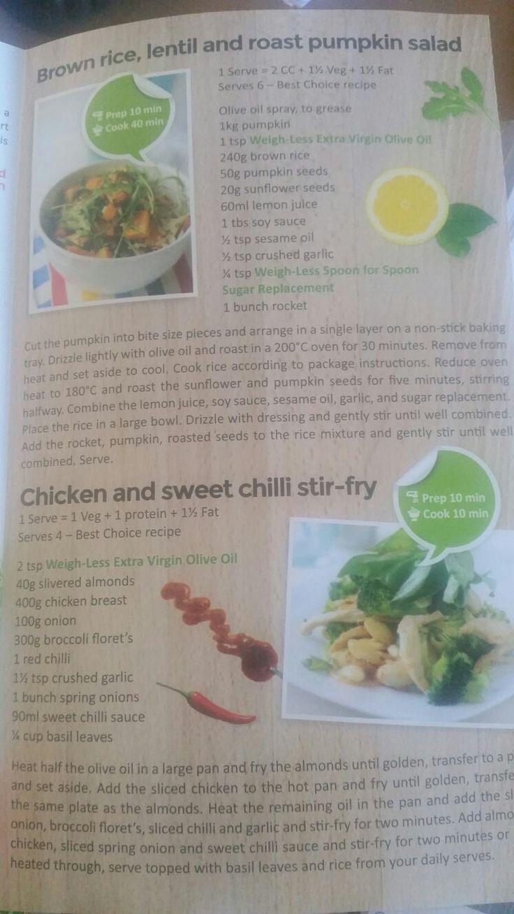 Brown Rice lentil roast pumpkin salad and chicken sweet chilli stir fry