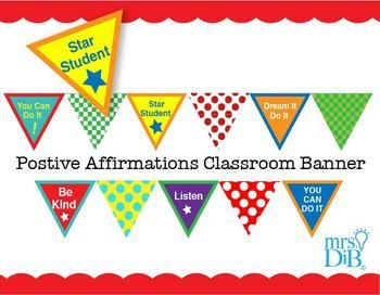 This is a very Colorful banner with positive affirmations for your students!- You can do it!- Dream it Do it- Listen- Be Kind- Star Student- Bright Colorful patterned pieces compliment words.You can cut and hang as they are or add string and hang from above!