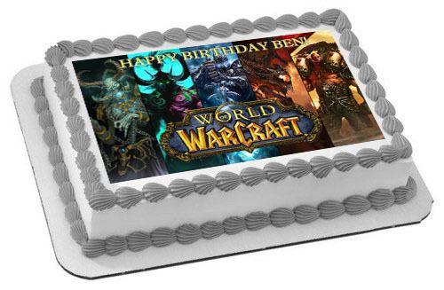 WORLD OF WARCRAFT Edible Birthday Cake Topper OR Cupcake Topper, Decor - Edible Cake Image